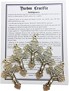 Lot of 5 Silver Tone Pardon Crucifix Pendant with Biography Cards