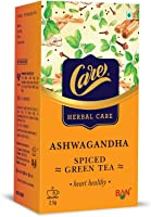 Care Ashwagandha Spiced Green Tea | Detox Desi Kahwa Green Tea with Herbs Like Cinnamon, Tulsi, Ginger - 100 Tea Bags