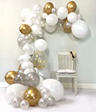 Embellish Balloon Arch & Garland Kit | Pearl White & Silver, Chrome Gold Confetti | Glue Dots | Decorating Strip | Holiday, Wedding, Baby Shower, Graduation, Anniversary Party Decorations