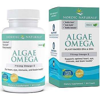 Nordic Naturals Algae Omega - 715 mg Omega-3 - 60 Soft Gels - Certified Vegan Algae Oil - Plant-Based EPA & DHA - Heart, Eye, Immune & Brain Health - Non-GMO - 30 Servings