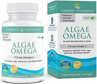 Nordic Naturals Algae Omega - 715 mg Omega-3 - 60 Soft Gels - Certified Vegan Algae Oil - Plant-Based EPA &...