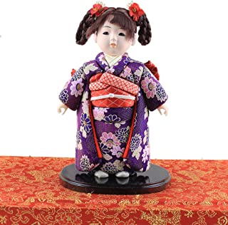 Heartrace 24cm Handmade Doll Japanese Hina gofun Art Ichimatsu Doll Figurine Collectibles for Birthday House Office Decor
