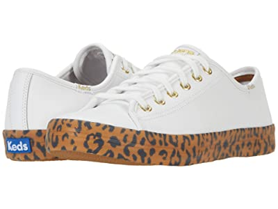 Keds Kickstart Leather Leopard Foxing (White/Tan Leather) Women
