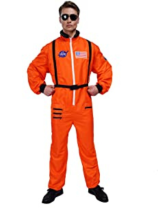 Mens Astronaut Costume Jumpsuit for Adults with Embroidered Patches and Pockets