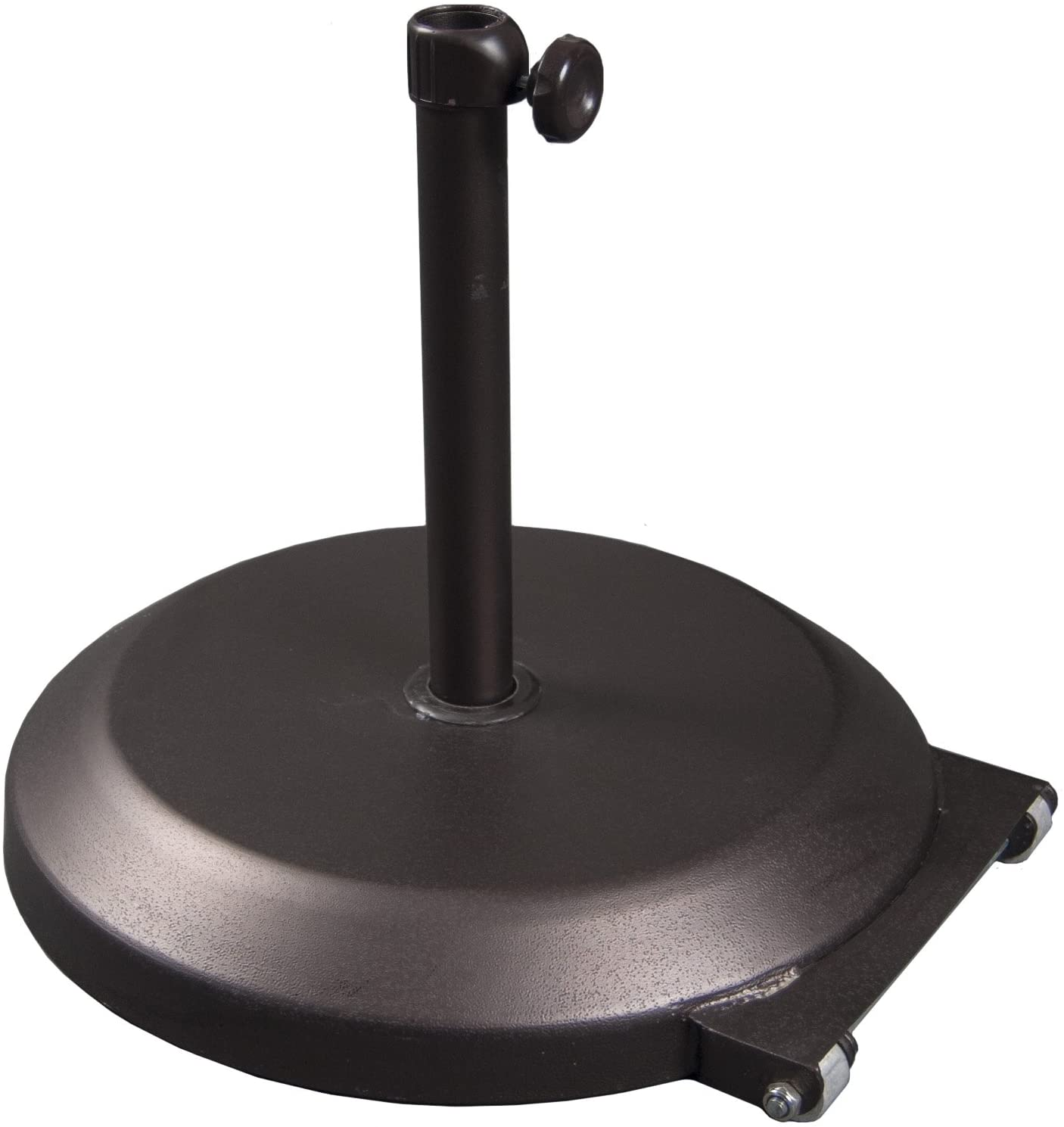 California Umbrella 75 lbs. Round Concrete Weighted Powdercoated Steel Umbrella Base With Wheels, Bronze Frame