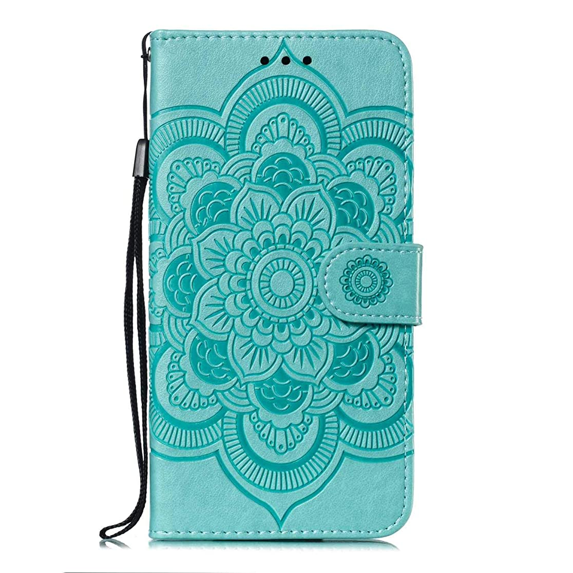 ラフレシアアルノルディレパートリークロスZeebox? Galaxy S9 Plus ケース, 高級感PUレザー 薄型 財布型カバー, 人気 マンダラの花のエンボス加工 カバー, 耐汚れ 耐摩擦 耐衝撃 手帳 ケース 付きスタンド機能 カード収納付 Galaxy S9 Plus 用 Case Cover, 緑