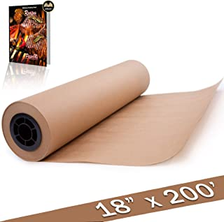 """Brown Butcher Paper Kraft Paper Roll - All Natural, USA Made Wrapping for Arts & Craft, Packaging, BBQ, Smoke Meat, Brisket - FDA Approved Food Grade, Unbleached, Unwaxed, Uncoated Sheet - 18"""" x 200'"""