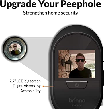 Brinno Peephole Camera Home SHC500 Manual Operation Security Long-Lasting Battery DIY Install LCD Screen Gold - 12mm Size