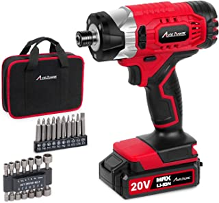 """20V MAX Cordless 1/4"""" Hex Impact Driver Kit, Variable Speed, Max Torque 1590 in-lbs, with 14Pcs Sockets, 10Pcs Driver Bits and Tool Bag, Avid Power"""