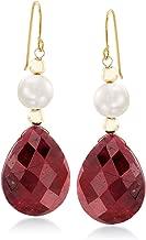 ruby earrings in gold