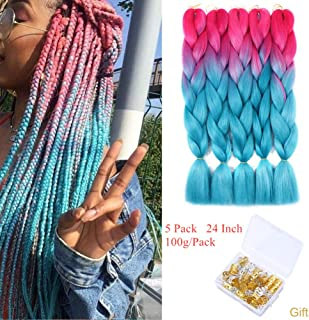 Ombre Jumbo Braiding Hair Kanekalon Jumbo Braids Synthetic Braiding Hair Two Tone Twist Braiding Hair Extensions 5Pcs/Lot 24inch (Rose Red/Light Blue)