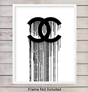 Coco Chanel Designer Logo Art Print - Contemporary Fashion Wall Art Poster - Unique Home Decor for Bedroom, Bathroom, Office - Gift for Women, Woman, Fashionista- 8x10 Photo Unframed