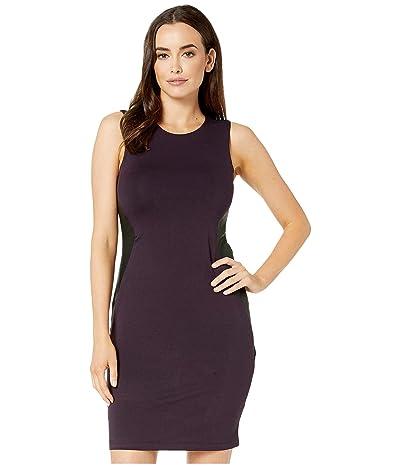Karen Kane Contrast Faux Leather Dress (Eggplant) Women