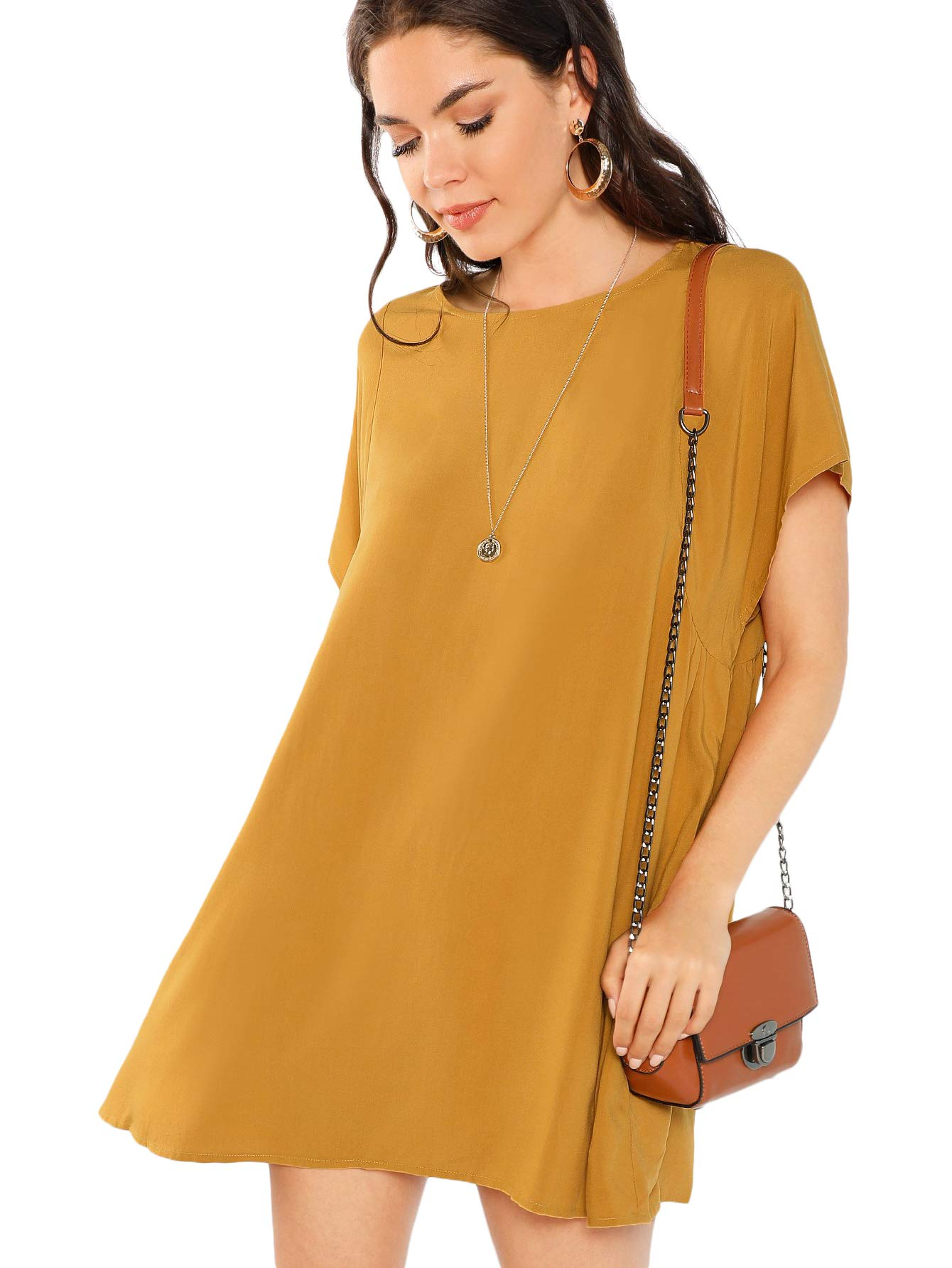 Available at Amazon: Milumia Women's Pocket Side Loose Fit Short Sleeve Round Neck Solid Swing Short Dress