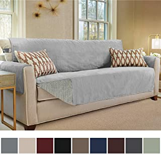 Gorilla Grip Original Slip Resistant Oversize Sofa Slipcover Protector, Seat Width Up to 78 Inch Suede-Like, Patent Pending, 2 Inch Straps, Hook, Couch Cover for Kids, Pets, Oversized Sofa, Charcoal