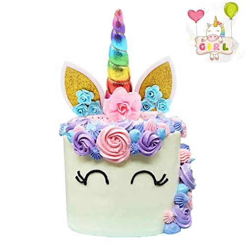 Unicorn Cake Topper Handmade Iridescent Horn Ears And Flowers DecorRainbow Color