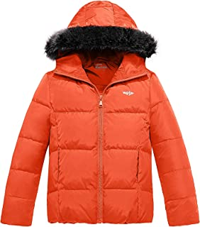 Girl's Down Jacket Lightweight Winter Coat with Faux Fur Collar Hooded Puffer Jacket