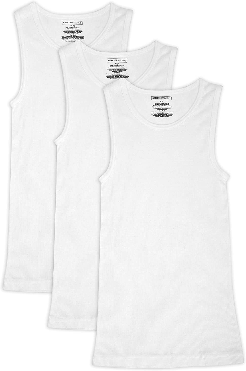 Basic Perspective Boy's A-Shirt Tagless Cotton Tank Top Undershirt, Pack of 3