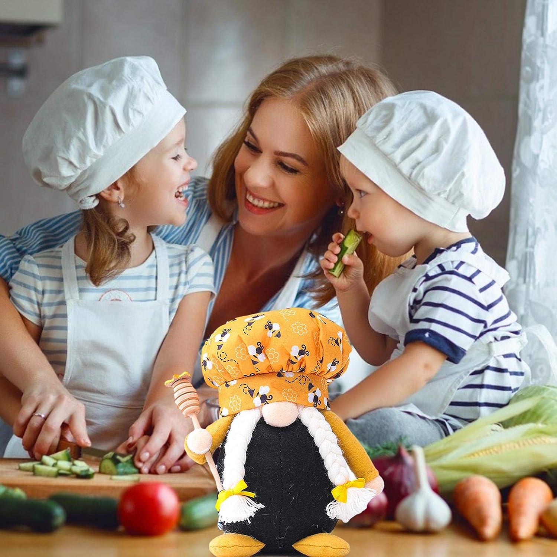 Ape Chef Coppia Bambola Rudolph Figurine svedesi Miele Elfo QQDS Bumble Bee GNOME Arredamento da Cucina Ape Party Regalo Primavera Compleanno Regalo Regalo a teiera Decorazioni Vassoio