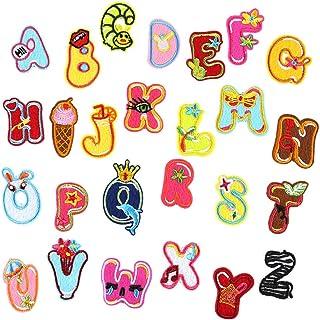 Artibetter 26 parches bordados con letras para planchar, parches para coser en parches, apliques coloridos para ropa, chaq...