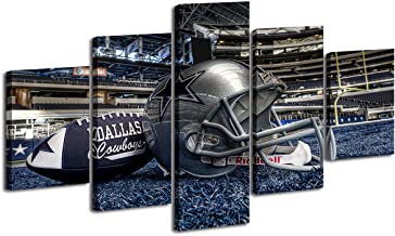 Dallas Cowboys Wall Decor - Large Panel Blue Nfl Sports Painting Dallas Cowboys Pictures American Football League Prints on Canvas 60''wx32'' Stretched and Framed Ready to Hang Home Office Decor