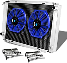 For Ford Mustang 3rd Gen (Manual Transmission) 3-Row Tri Core Racing Radiator+2 x 10 inches Blue Fan