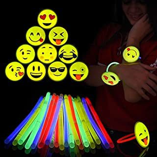 Glow Sticks Emoji Bracelets – Pack of 20 Neon 8in Glowsticks Wristbands, 10 Different Emojis – Glow in the Dark Party Favors – Ideal for Halloween and all Festive Occasions– With Connectors – Kids Fun