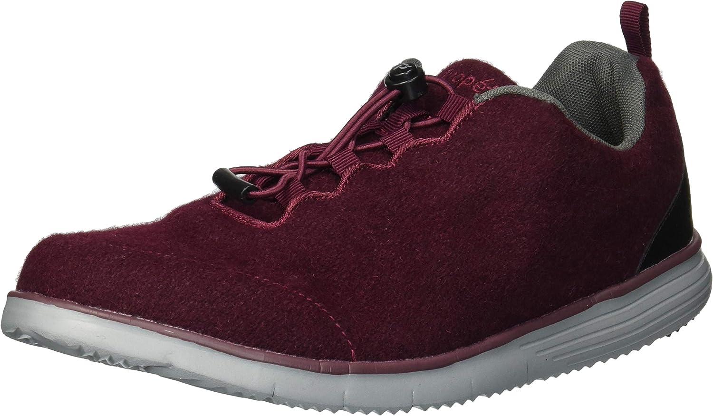 Propet Women's TravelFit Prestige Sneaker, Burgundy Flannel, 8 Wide US