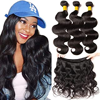 YOUFA Brazilian Body Wave Hair 3 Bundles 12 14 16 inch 10A 100% Unprocessed Virgin Body Wave Human Hair Bundles Weave Remy Hair Extensions Natural Black Color