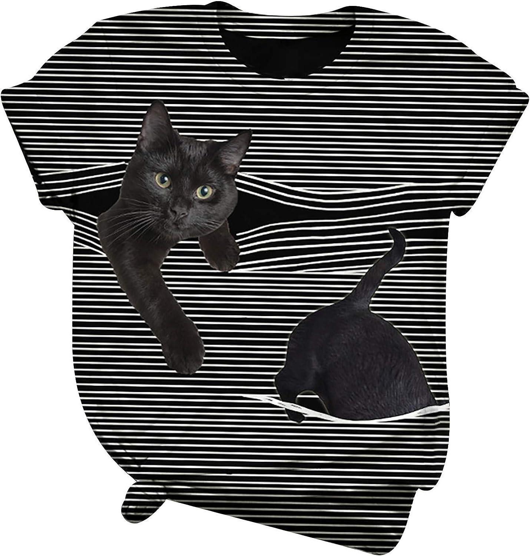Womens Short Sleeve Tops, naioewe Shirts for Women Black Cat Print Stripe Casual Short Sleeve T Shirt V-Neck Blouse Tops