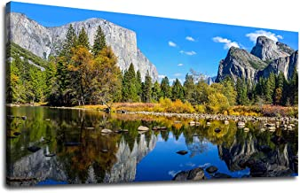 Large Canvas Wall Art Mountain and Lake Landscape Picture Canvas Art Yosemite National Park Green Forest Blue Lake Water Contemporary Nature Artwork for Home Decoration Office Wall Decor 24