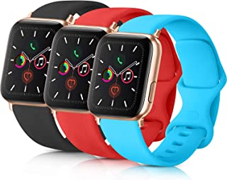 Pack 3 Compatible with Apple Watch Band 38mm 40mm 42mm 44mm Women Men, Soft Silicone Band for Apple iWatch Series 4, Serie...