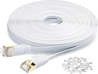 Cat7 Flat Ethernet Cable, 15m[50 FT] 10 Gigabit High Speed Shielded (SSTP) Computer Network Cord with Gold Plated Snagless...