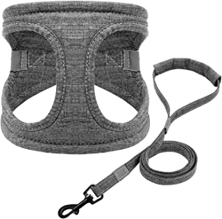 Reflective Dog Harness and Leash Set Soft Padded Dogs Cat Harnesses Vest with Lead Leash for Small Medium Dogs Cats Chihuahua