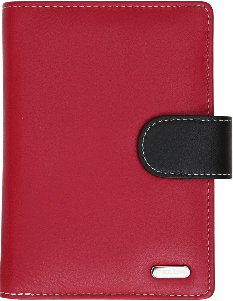 Felda - ampio portafoglio da donna,porta carte di credito, con protezione rfid, in pelle 16-105 Red Multi