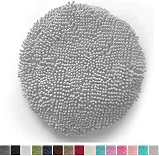 Gorilla Grip Original Shag Chenille Bath Rug Toilet Lid Cover, 19.5 Inchx18.5 Inch Large Size, Machine Washable, Ultra Soft Plush Fabric Covers, Fits Most Size Toilet Lids for Bathroom, Light Gray