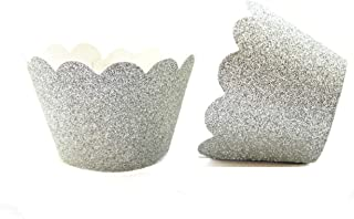 Cupcake Liners Wrappers Set of 12 Muffins Cupcake Holders Colorful Decorations (Silver Glitter)