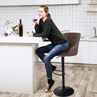 MAISON ARTS Swivel Adjustable Bar Stool with Back for...