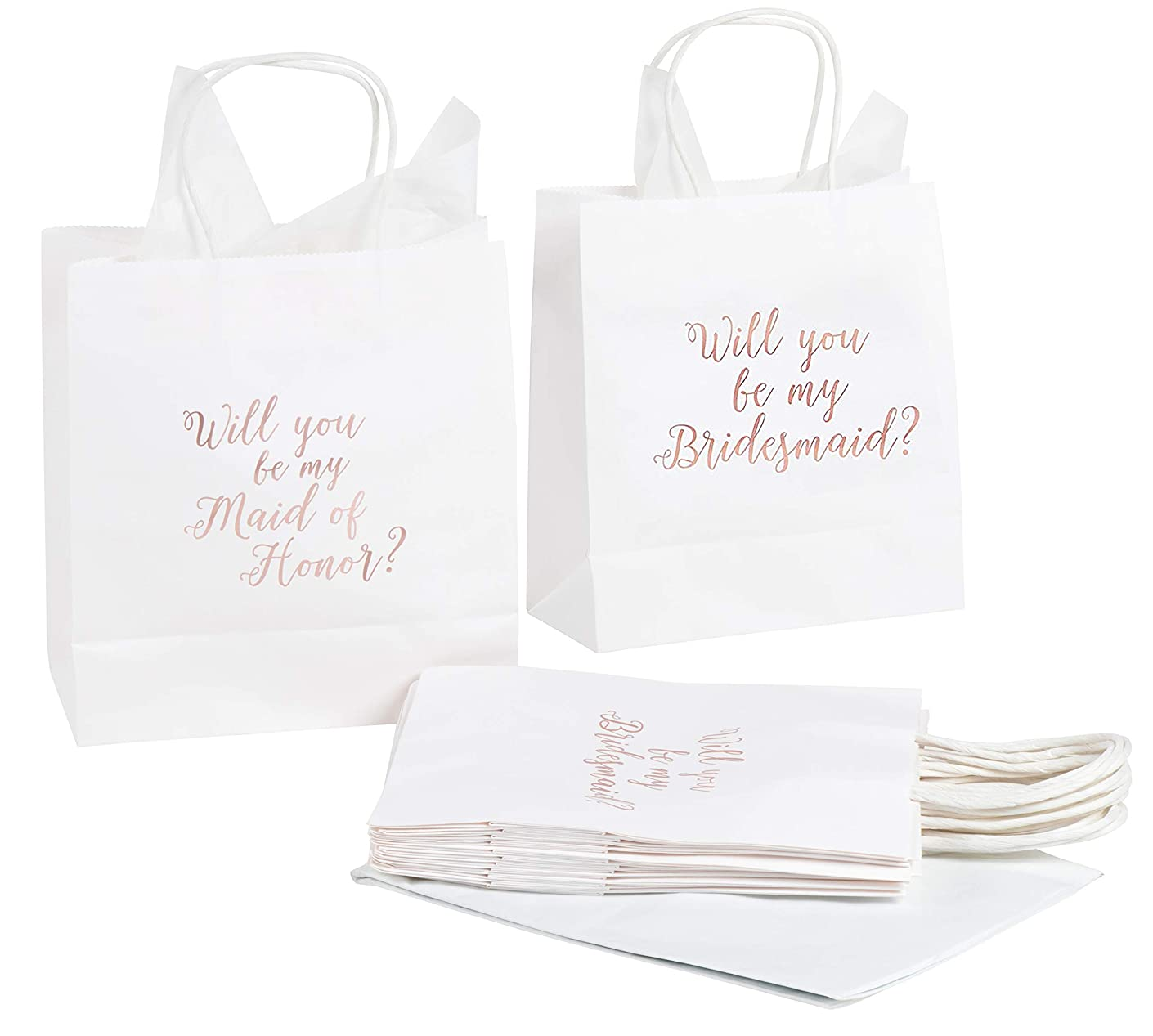 11 Bridesmaid and 1 Maid of Honor Proposal Gift Bag, Rose Gold Foil Text, Includes 20 Sheets of Tissue Paper, Perfect for Will You Be My Bridesmaid, MOH Presents, White, 9 x 8 x 4 Inches