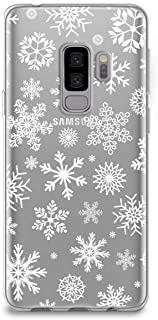 CasesByLorraine Samsung S9 Plus Case, Christmas Snowflakes Clear Transparent Case Xmas Holiday TPU Soft Gel Protective Cover for Samsung Galaxy S9 Plus (P65)