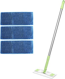 Aclean Microfiber Floor Mop 9.8 Inches+3 Reusable Refill Pad (White Green)