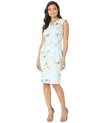 Calvin Klein V-Neck Floral Print Sheath Dress (Seaspray Multi) Women