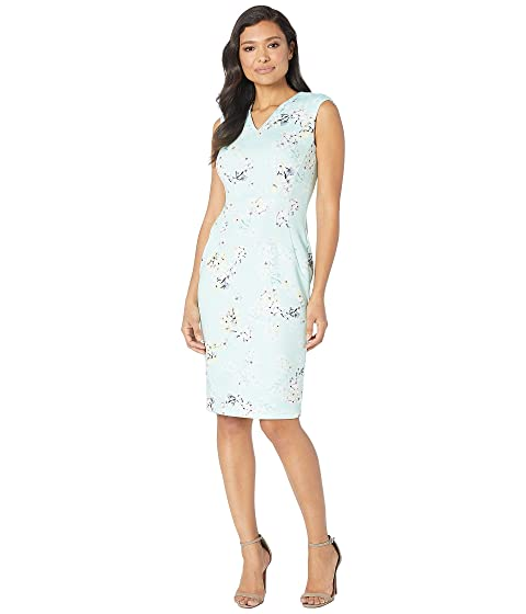 50e766c16483 Calvin Klein V-Neck Floral Print Sheath Dress at Zappos.com