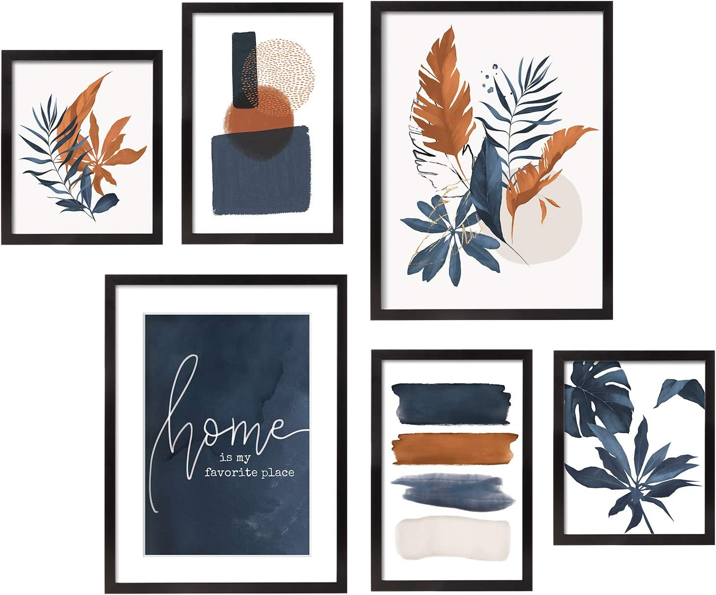ArtbyHannah 6 Pieces Framed Botanical Gallery Wall Frames Kit with Tropical Plants Decorative Art Prints for Wall Art Decor or Home Decoration,Multi Size:12x16,8x12,8x10 Inch with Black Picture Frames