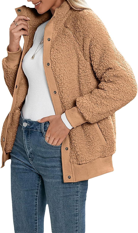 JLKGICF Women Winter Warm Fleece Jacket Faux Fuzzy Long Sleeve Button Down Shaggy Coat with Pockets (Khaki,Small)