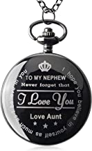 Qise Pocket Watch to My Nephew - Love Aunt(Love Uncle) Necklace Chain from Aunt to Nephew Gifts with Black Gift Box