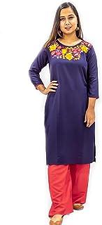 KADAAII Women Embroidery Rayon Blue kurta with Red Palazzo Set
