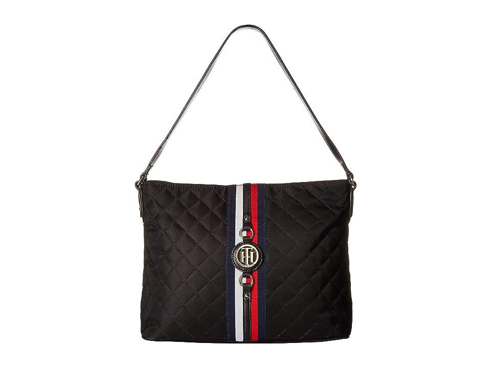 Tommy Hilfiger Jaden Hobo Quilted Nylon (Black) Hobo Handbags