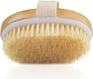 Dry Brushing Body Brush - Exfoliating Brush - Natural Bristle Dry Brush for Remove Dead Skin Toxins Cellulite,Treatment,Improves Lymphatic Functions,Exfoliates,Stimulates Blood Circulation,Single