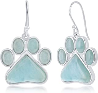 Gemstar Jewellery Cute Dog Paw Print Earrings In 14k White Gold Finished Round Shape Pink Sapphire